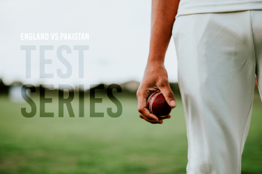 Test series player holding cricket ball