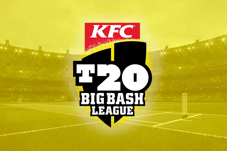 T20 Big Bash League kfc Logo with a stadium on the background.